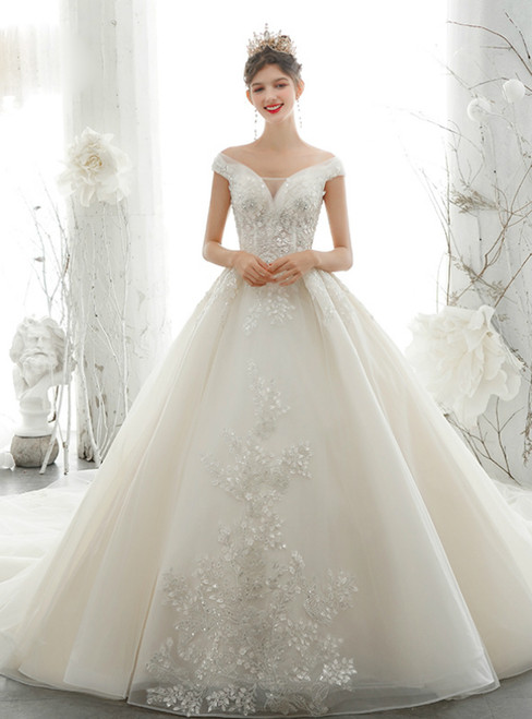 Shop Online Luxury Ball Gown Champagne Tulle Off the Shoulder Beading Wedding Dress