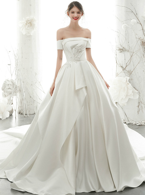 With Annakoo, You'Ll Find White Ball Gown Satin Off the Shoulder Short Sleeve Beading Sequins Wedding Dress