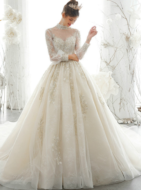 Free Shipping Champagne Ball Gown Tulle High Neck Long Sleeve Wedding Dress With Pearls 2020
