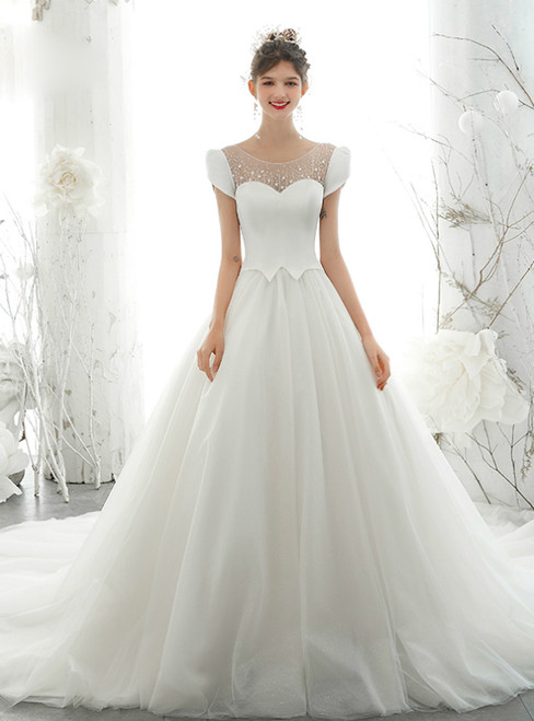 Take Center Stage In White Ball Gown Tulle Satin Cap Sleeve Open Back Wedding Dress