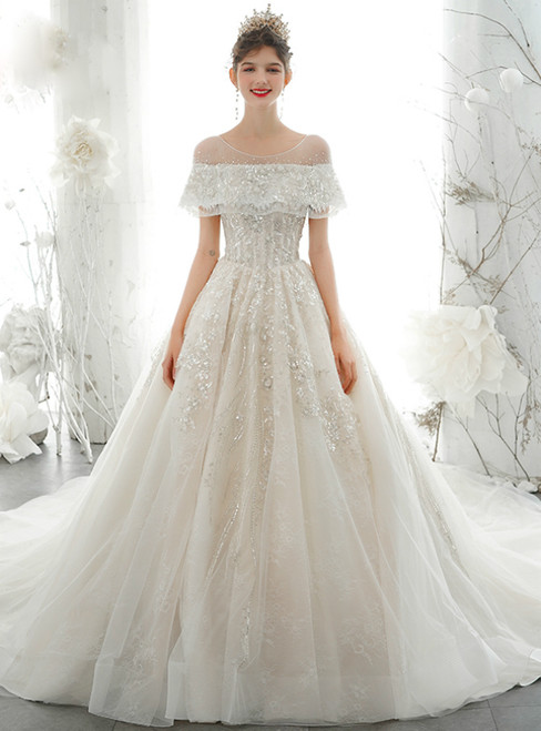You'Ll Want Champagne Ball Gown Tulle Sequins Backless Wedding Dress