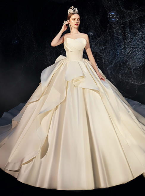Ivory White Ball Gown Satin Strapless Ruffles Wedding Dress 2020