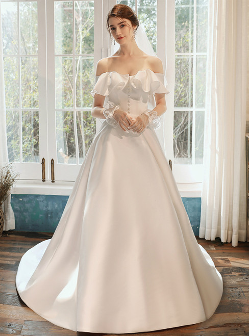 Biggest Sale A-line White Satin Off the Shoulder Wedding Dress With Button