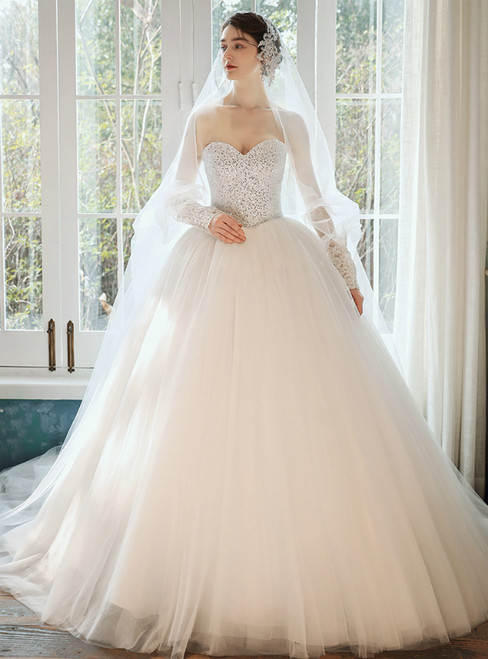 100% Custom Made White Ball Gown Tulle Sweetheart Beding Sequins Wedding Dress