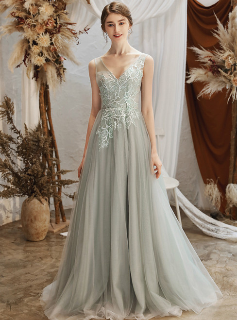 Custom Tailored A-Line Gray Tulle V-neck Backless Appliques Wedding Dress