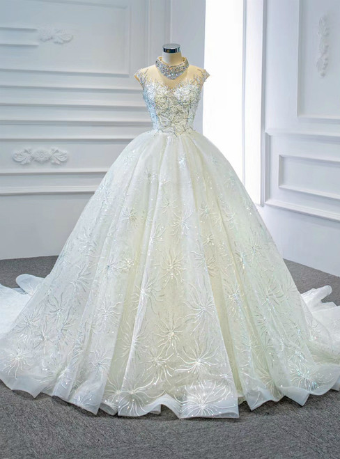 High Quality White Ball Gown Tulle High Neck Backless Beading Sequins Wedding Dress