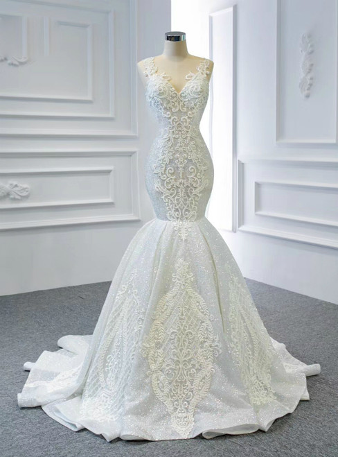 1000+ Styles White Mermaid Sequins V-neck Appliques Beading Wedding Dress