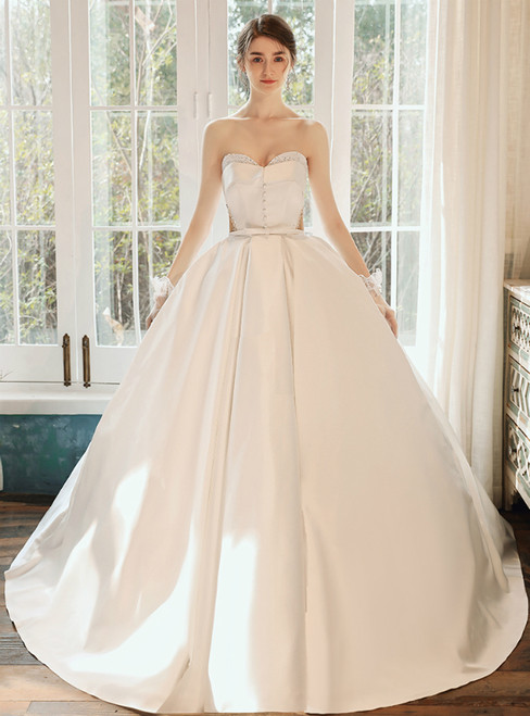 Find All Of The Latest Styles White Ball Gown Satin Sweetheart Beading Wedding DressWith Button