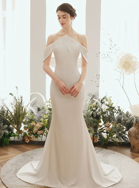 Shop Sexy White Mermaid Satin Halter Backless Wedding Dress
