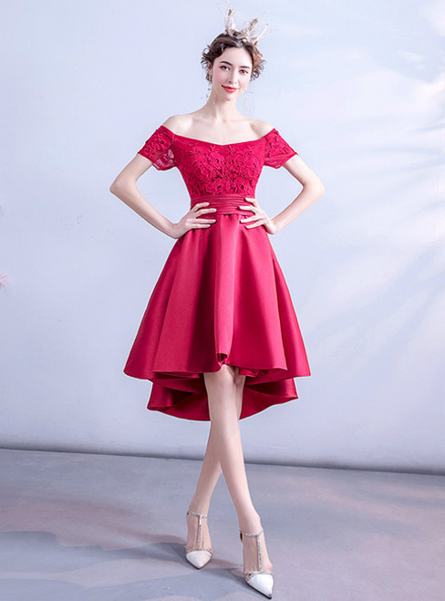 It's Prom Season In Stock:Ship in 48 Hours Red Satin Hi Lo Off the Shouldere Homecoming Dress