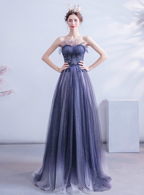Shop This Selection Of In Stock:Ship in 48 Hours Blue Tulle Sweetheart Beading Prom Dress