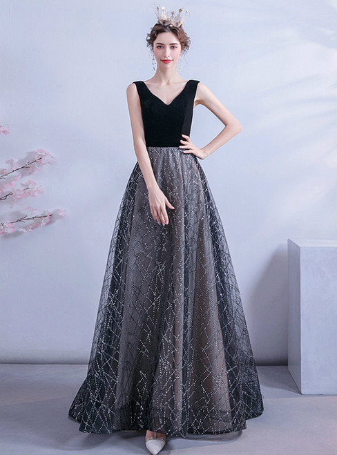 Stand Out With In Stock:Ship in 48 Hours Black Tulle V-neck Sequins Prom Dress