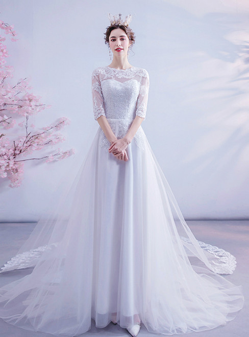 We Are The Destination For Affordable In Stock:Ship in 48 Hours White Tulle Appliques Half Sleeve Wedding Dress
