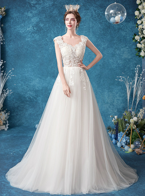Wide Range Of In Stock:Ship in 48 Hours A-Line White Tulle Appliques Wedding Dress