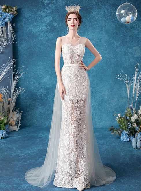 Affordable In Stock:Ship in 48 Hours Sexy White Tulle Lace V-neck Wedding Dress