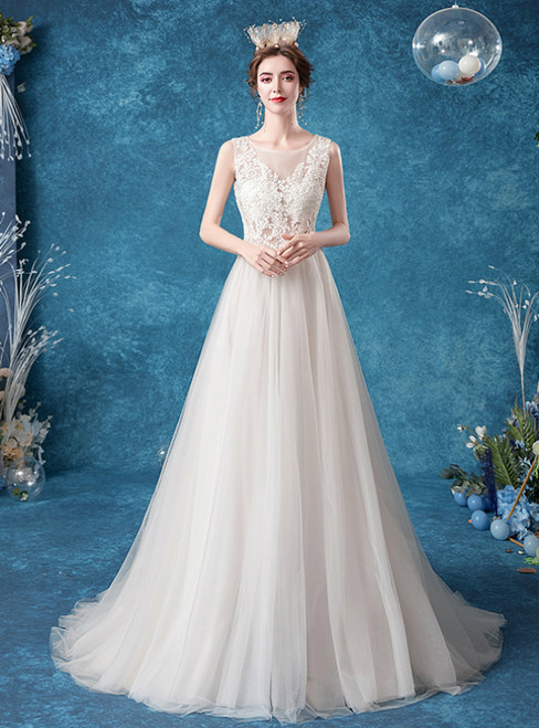 Individually Cut In Stock:Ship in 48 Hours White Tulle Appliques Sleeveless Wedding Dress