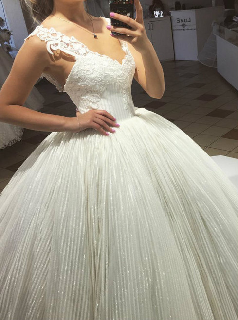 Sequins Tulle Lace Straps Ball Gown Wedding Dresses 2017