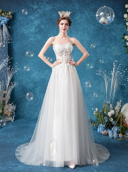 The Best In Stock:Ship in 48 Hours Fashion White Tulle Sweetheart Appliques Wedding Dress