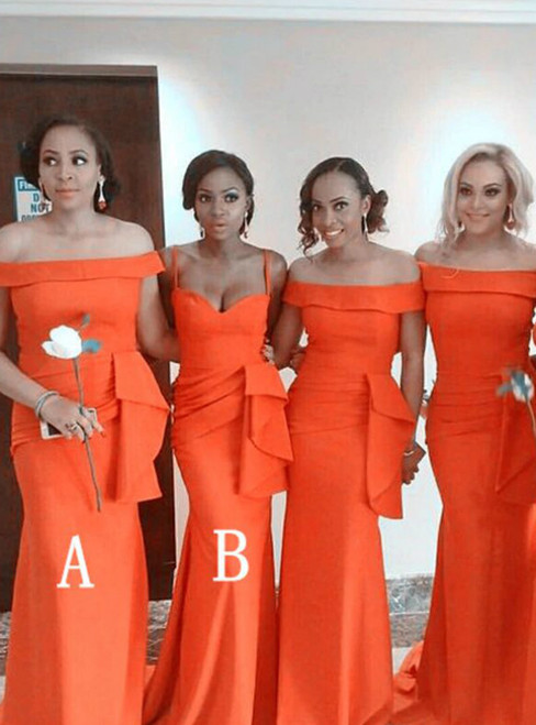 Orange Mermaid Satin Off the Shoulder Bridesmaid Dress