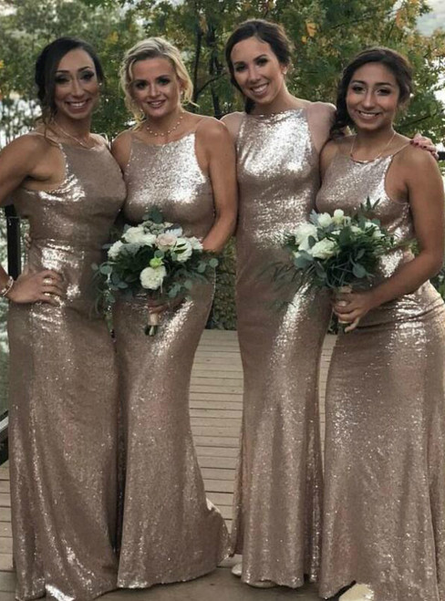 Shop For Cute Gold Mermaid Sequins Halter Sleeveless Bridemaid Dress