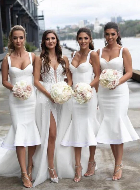 The Cheap Price White Tea Length Mermaid Satin Straps Bridesmaid Dresses