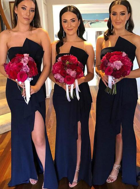 Enjoy The Navy Blue Sheath Satin Strapless Bridesmaid Dress With Side Spilt