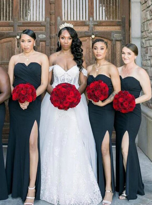 We Specialize In Custom Made Navy Blue Mermaid Sweetheart Pleats Bridesmaid Dress With Side Split