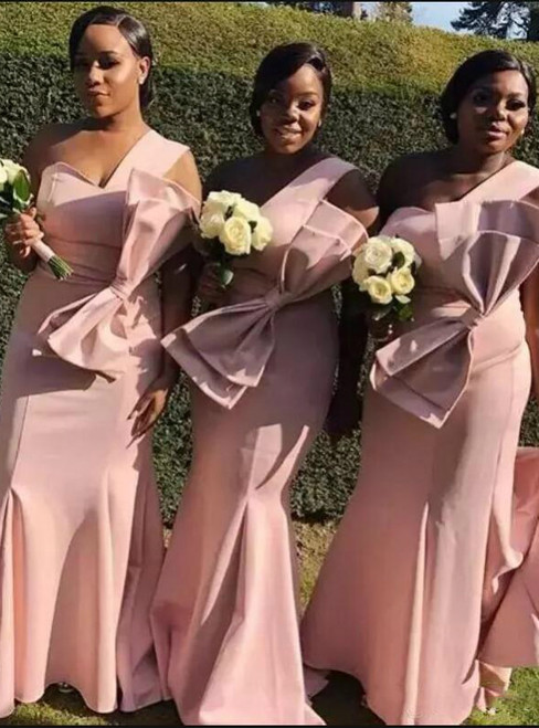 Brand New Blush Pink Mermaid Satin One Shoulder Bridesmaid Dress With Bow