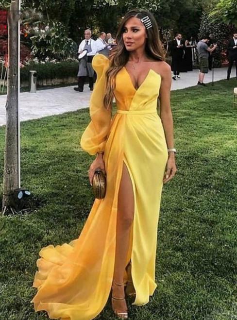 Elegant Sexy Yellow Mermaid Satin One Shoulder Prom Dress