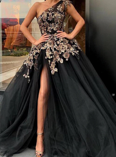 Find The Perfect Black Ball Gown Tulle one Shoulder Embrodiery Prom Dress
