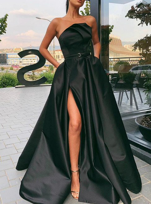 Find And Buy The Perfect A-Line Black Satin Strapless Pleats Prom Dress With Side Split