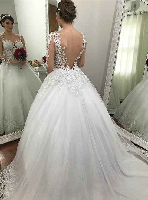 Sexy Lace Appliqued Sheer Corset Ball Gown Wedding Dress Long Sleeves