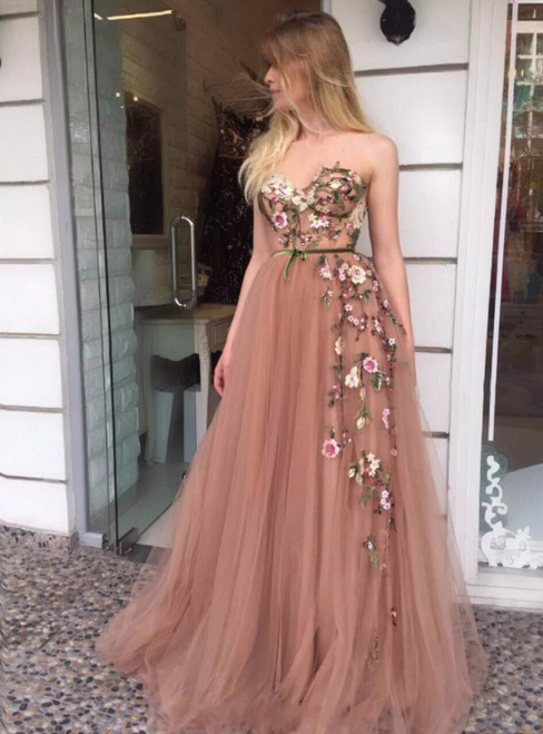 Get a Prom-Ready Look A-Line Pink Tulle Sweetheart Embroidery Long Prom Dress