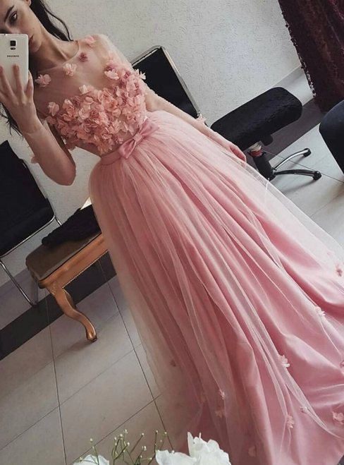 Looking For Gorgeous A-Line Pink Tulle Appliques Floor Length Illusion Prom Dress