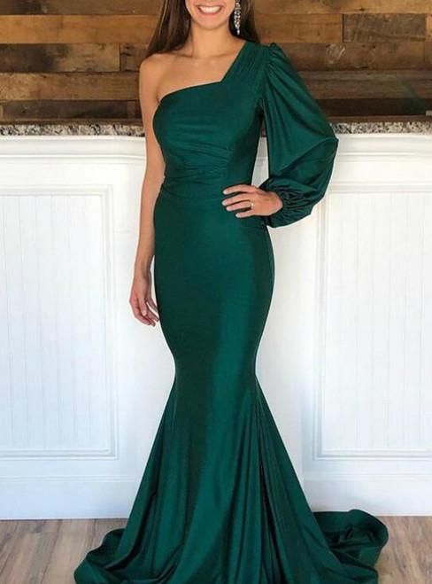 Shop Long Green Mermaid Satin One Shoulder Long Sleeve Prom Dress