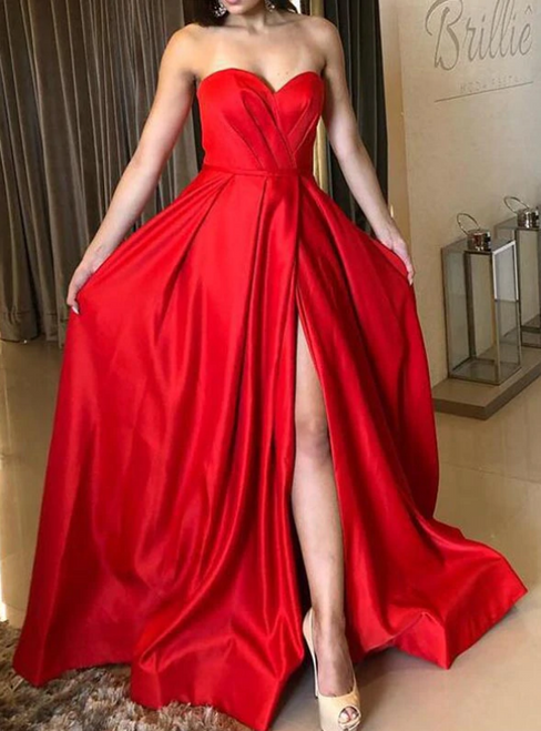 Be The Prom Queen In A-Line Red Satin Sweetheart Pleats Prom Dress With Side Split