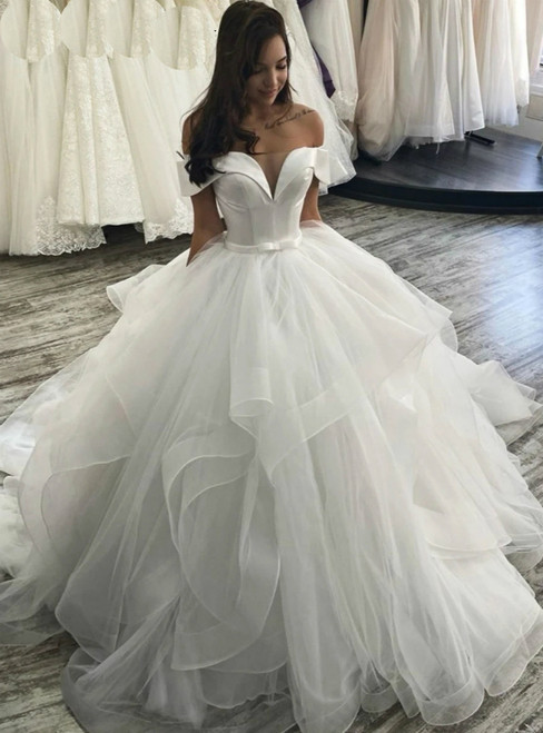 Never Miss Out On White Ball Gown Off the Shoulder Wedding Dress With Bow