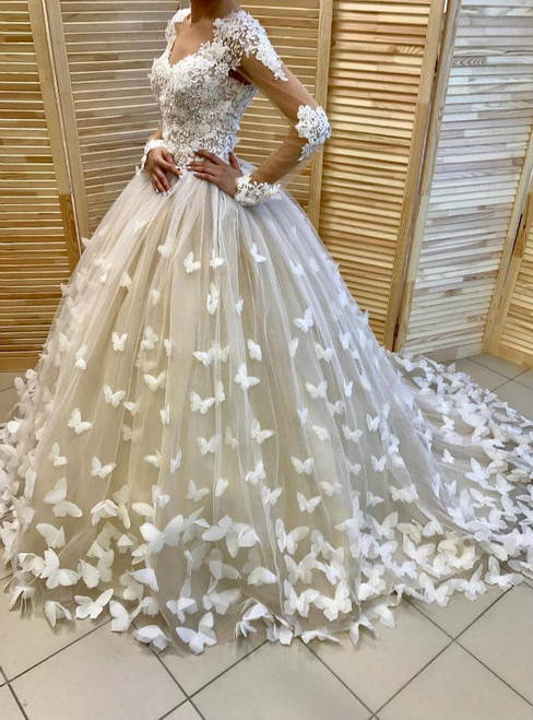 Amazing Butterfly Ball Gown Long Sleeves Wedding Dress Bridal Gowns 2017