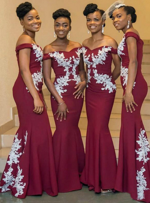 Buy From Sexy Burgundy Mermaid Satin Off the Shoulder Appliques Bridesmaid Dress