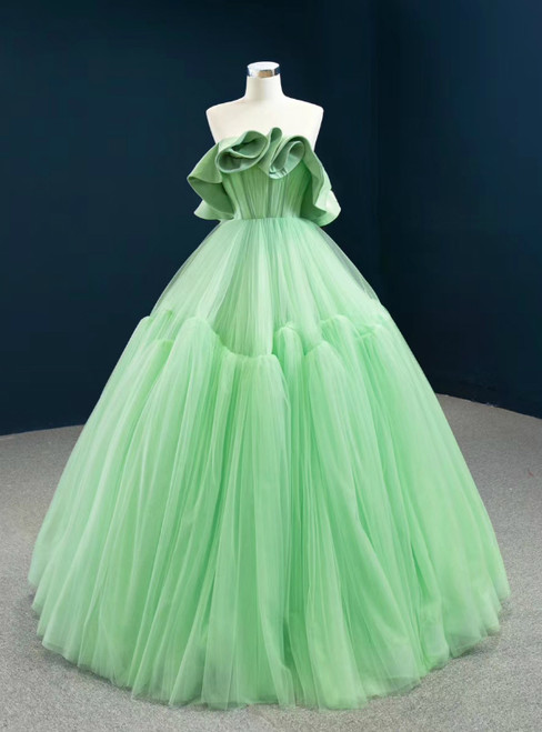 Stylish Green Ball Gown Tulle Strapless Pleats Long Prom Dress