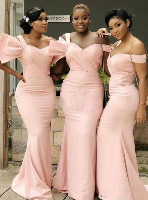 For Your Big Night Pink Mermaid Satin Off the Shoulder Bridesmaid Dress
