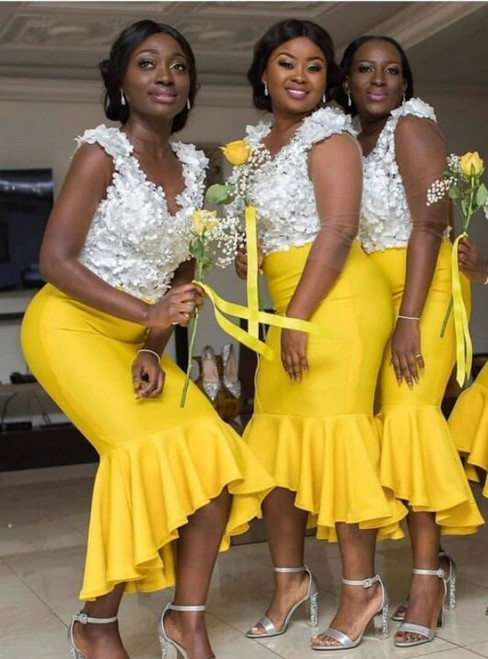 Available In Sizes 0-24 Mermaid Yellow Hi-low White Floral Top Satin Bridesmaid Dress