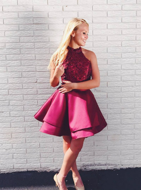 Backless Lace Top Satin Two Piece Homecoming Dresses Short Prom Gowns 2017