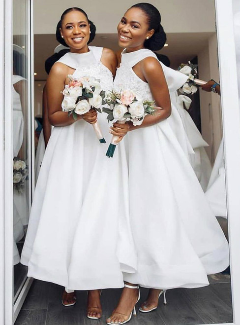 Is Now Available A-Line White Satin Halter Appliques Bridesmaid Dress With Bow