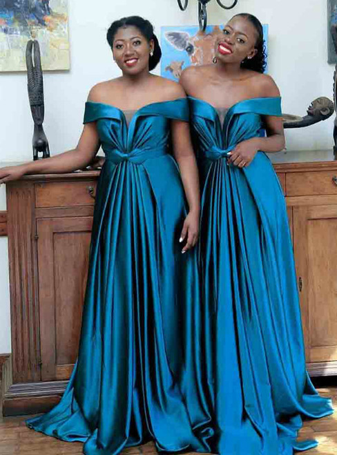 For This Year's Biggest Dance A-Line Blue Satin Off the Shoulder Pleats Bridesmaid Dress
