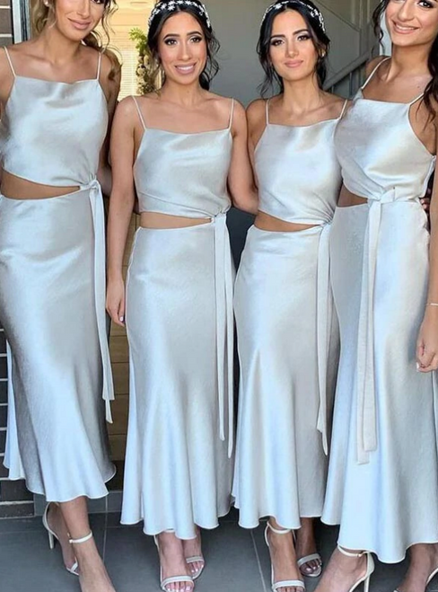 You'll Always Remember Wearing A-Line White Satin Spaghetti Straps Ankle Length Bridesmaid Dress