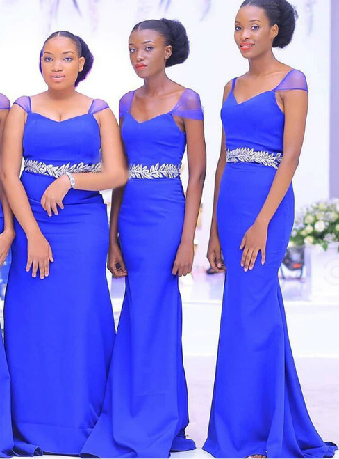 For The Very Best In Unique Or Custom Royal Blue Mermaid Satoin V-neck Bridesmaid Dress With Belt
