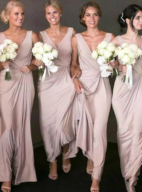 Just Be The One For You A-Line Pink Chiffon V-neck Pleats Long Bridesmaid Dress