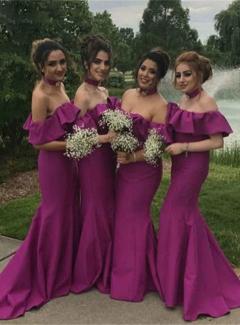 For You Purple Mermaid Satin Off the Shoulder Ruffles Bridesmaids Dress
