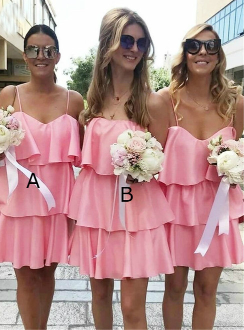 At Incredible Price A-Line Pink Spaghetti Straps Tiered Mini Bridesmaid Dress